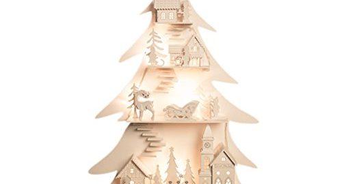 The Christmas Workshop - Alberello di natale in legno con 8 luci LED e motivo a città incastonata tra i rami, colore: bianco